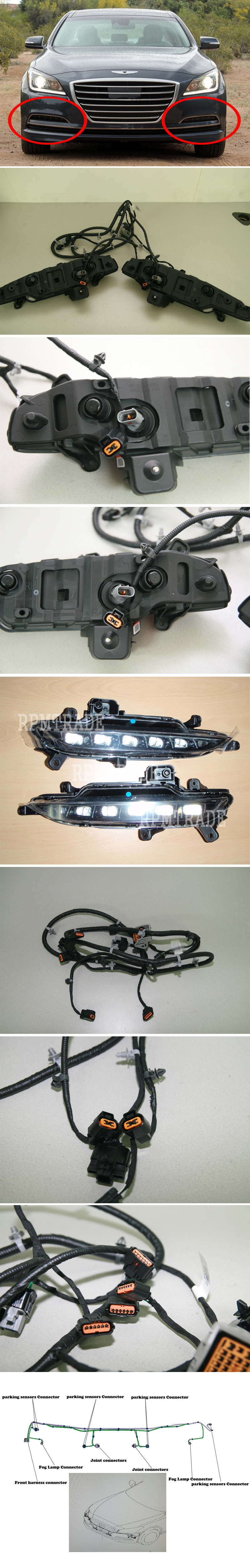 genuine oem led fog lamp wire harness set for 2015 2016 hyundai installation guide is not included