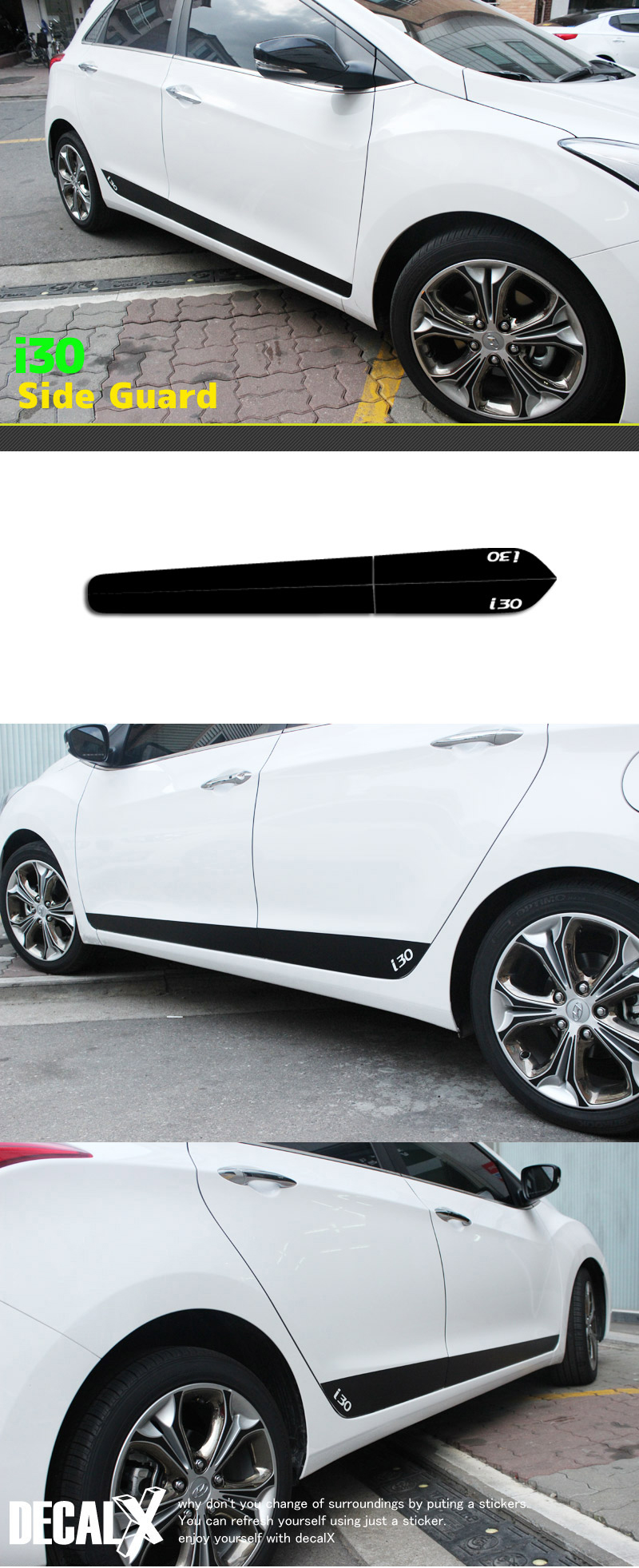 Black Door Side Decal Sticker For Hyundai 2012 2015 I30
