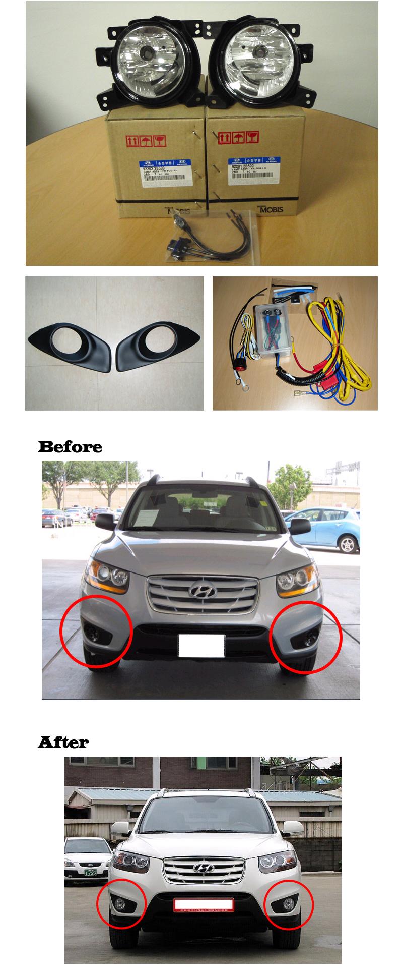 Fog Lamp Light Complete Kit For 2010 2011 2012 Hyundai